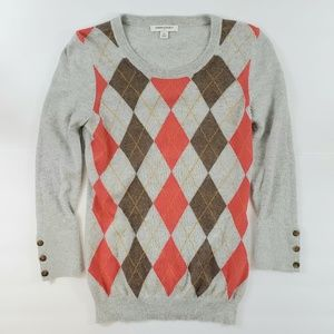 Banana Republic Angora Blend Argyle Sweater Gray